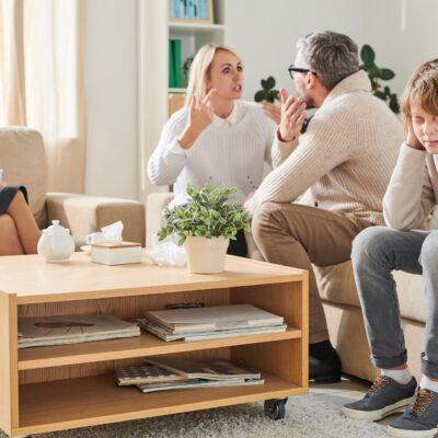 Nervous parents being in conflict